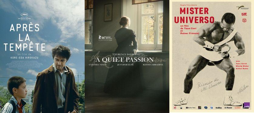 """affiches films """"Après la tempête"""", """"Emily Dickinson"""" et """"Mister Universo"""""""