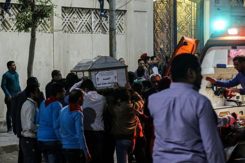 Funérailles à Tanta en Egypte après l'attentat du 09/04/17 revendiqué par l'Etat Islamique