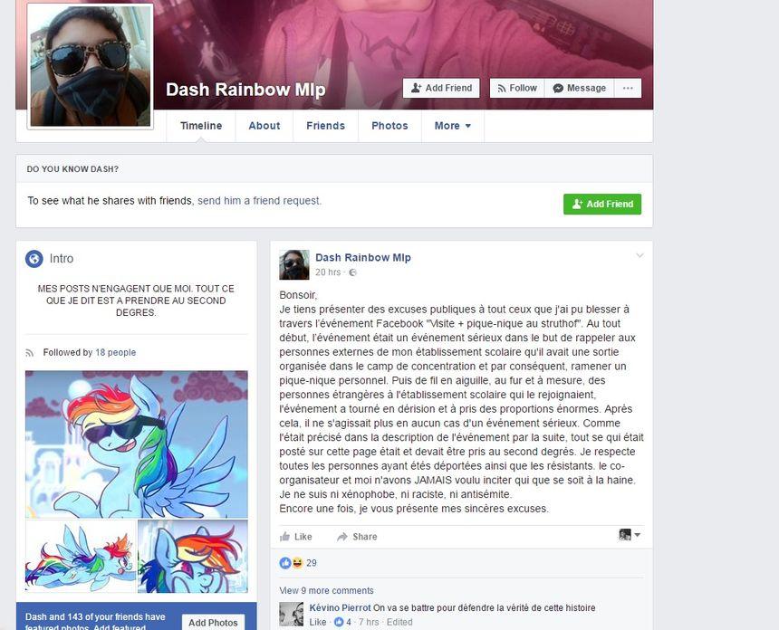 Capture d'écran du message d'excuse de l'un des deux organisateurs