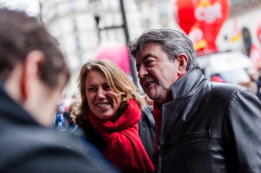 Danielle Simonnet et Jean-Luc Mélenchon lors d'une manifestation contre la loi Macron le 26 janvier 2015