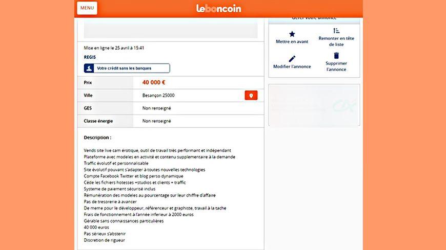 Sur le site internet Leboncoin.fr, un internaute a posté une fausse annonce dans laquelle il met en vente un local appartenant à un site de webcam érotique à Besançon.
