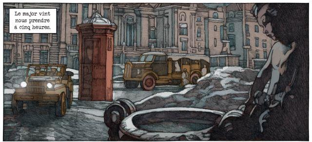 """Détail d'une planche de """"Le coup de Prague"""" avec un plan qui rappelle Le troisième homme"""