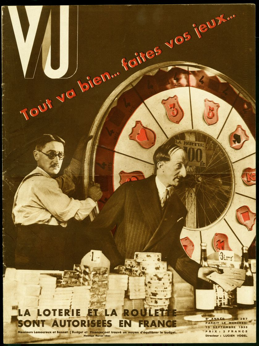 Photomontage Marcel Ichac pour la couverture de l'hebdomadaire VU, directeur Lucien Vogel (1886-1954), numero 287, date 13/9/1933. Collection Selva