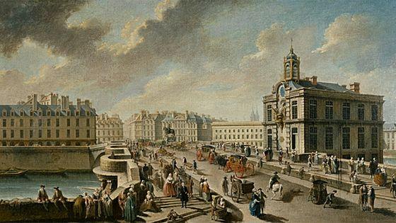 Le Pont-Neuf et la Pompe de la Samaritaine, vu du quai de la Mégisserie, vers 1750-1760 - Nicolas Raguenet