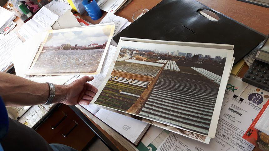 René Kersanté montre les photos de son exploitation, désormais implantée au pied des immeubles