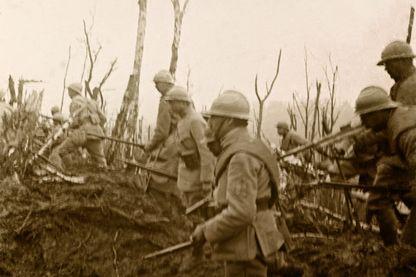 Attaque française au Mont des Singes, Collection particulière - Plaque de verre stereoscopique sur la Premiere guerre mondiale