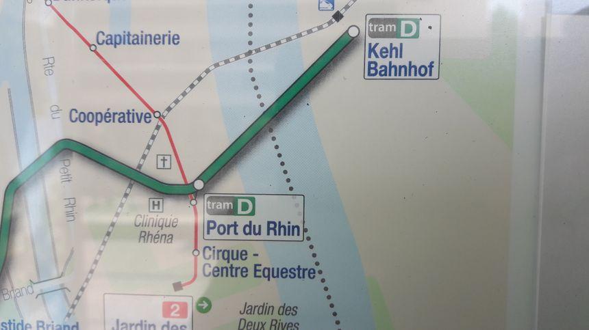 Carte du prolongement du réseau de tram strasbourgeois vers Kehl, le 29 avril 2017