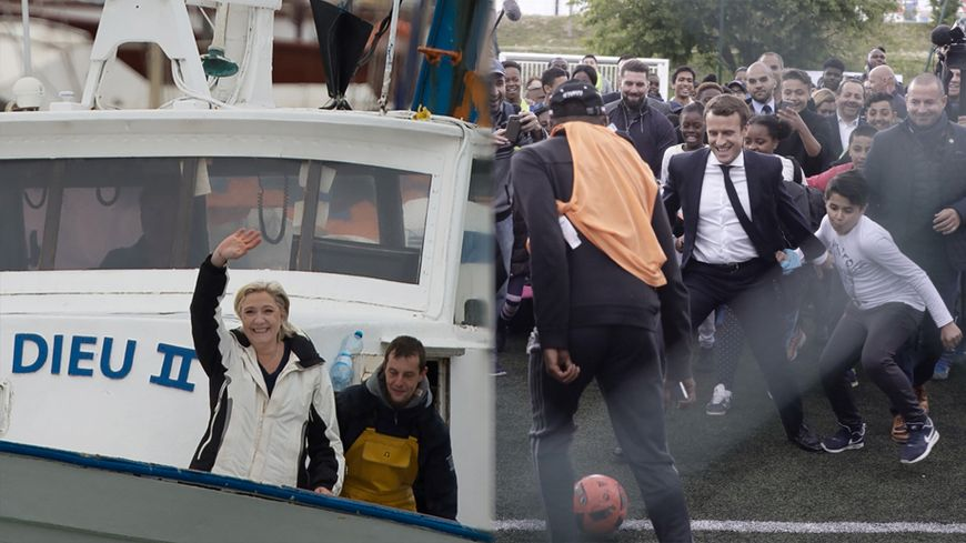 Marine Le Pen sur un chalutier au Grau-du-Roi, Emmanuel Macron sur un terrain de foot à Sarcelles.