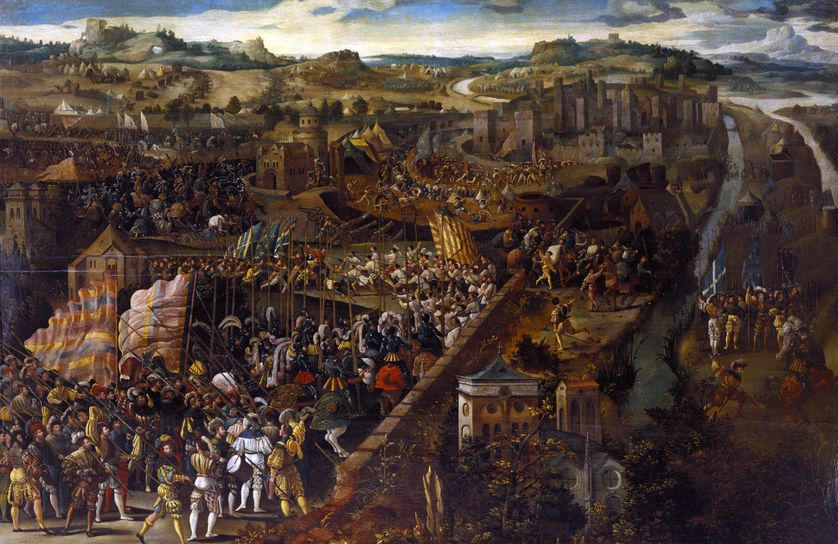 La bataille de Pavie, huile sur bois, XVIe siècle