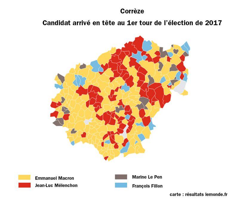 Les candidats arrivés en tête du 1er tour de l'élection de 2017 en Corrèze
