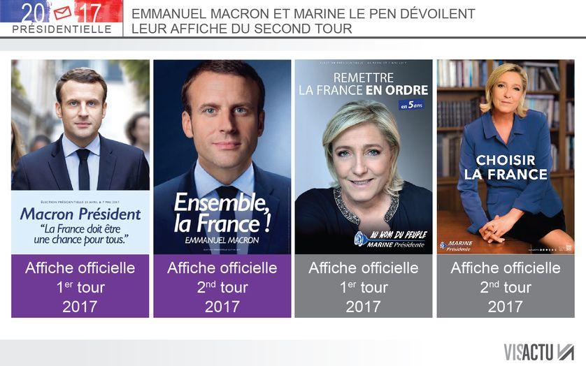 Emmanuel Macron et Marine Le Pen ont dévoilé ce mercredi leur affiche de campagne pour le second tour... mais aussi leur slogan.