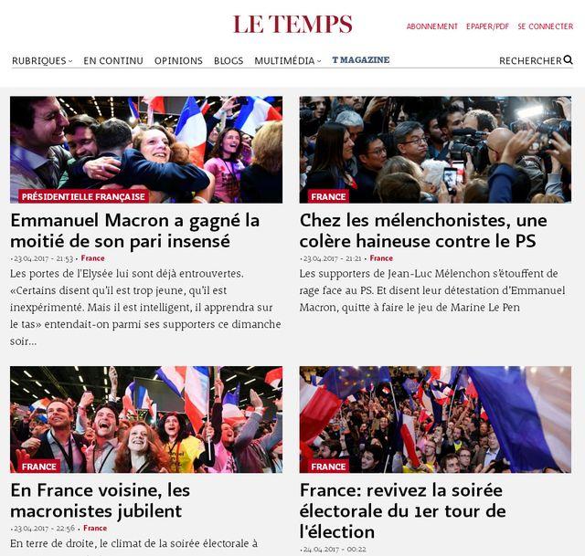 """""""Deux personnalités hors-norme pour s'affronter au second tour"""", estime le quotidien suisse """"Le Temps""""."""