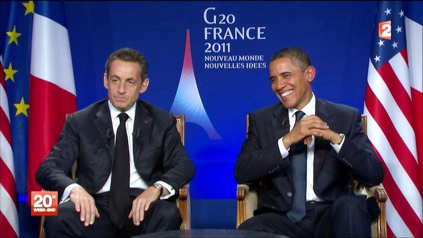 Capture d'écran de Nicolas Sarkozy avec Barack Obama le 01/11/2011 sur France 2.