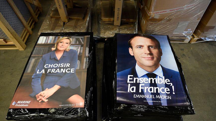 Les affiches d'entre-deux-tours de Marine Le Pen et Emmanuel Macron