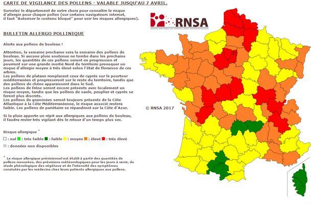 Le RNSA publie chaque semaine une carte des risques allergènes