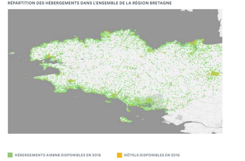 Répartition des hébergements Airbnb en Bretagne