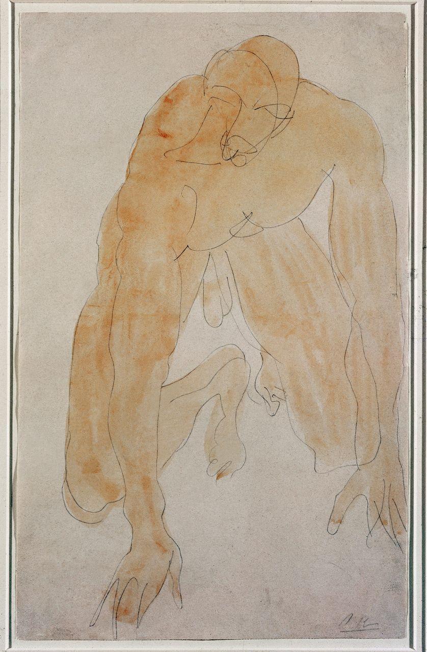 Rodin, dessin d'homme nu