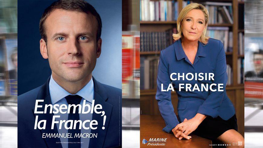 Voici les affiches de second tour des deux finalistes, Emmanuel Macron et Marine Le Pen.
