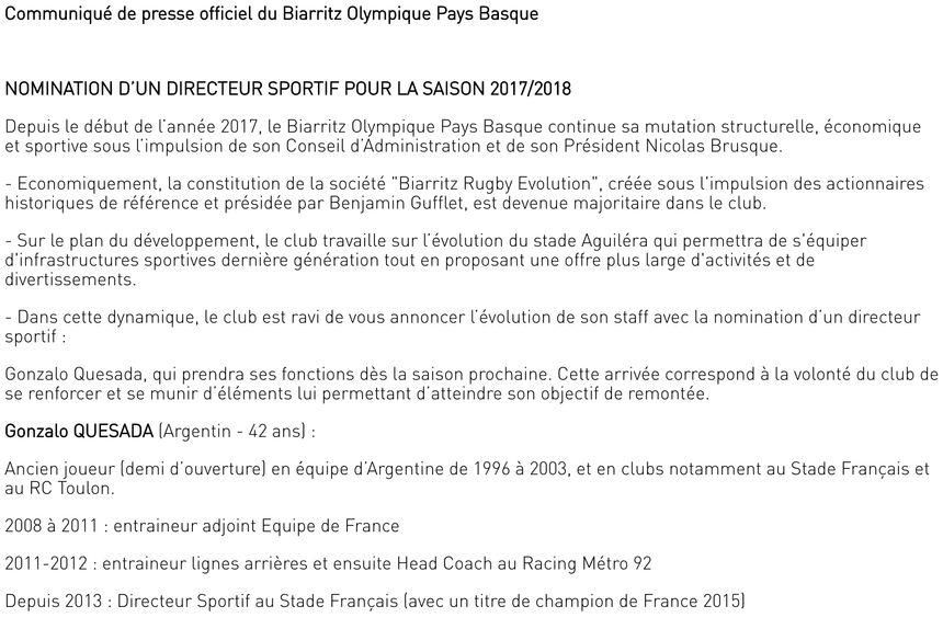 Le Biarritz Olympique a publié un communiqué ce dimanche soir pour annoncer la nomination de Gonzalo Quesada comme directeur sportif pour la saison 2017/2018