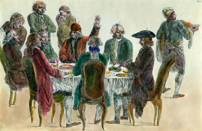 """""""Un diner de philosophes reunissant Voltaire, Diderot , l' abbé Maury et Condorcet"""""""