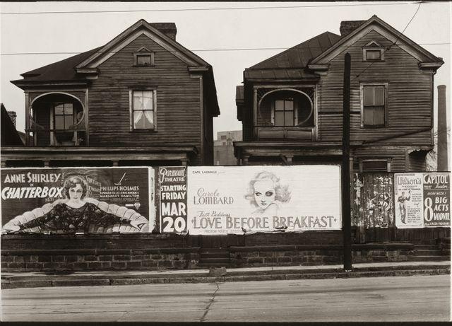 Maisons et panneaux d'affichage à Atlanta, 1936