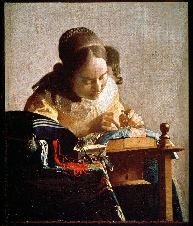 """""""La Dentellière"""". Peinture de Johannes Vermeer de Delft (1632-1675), vers 1658-1660. Huile sur toile. Dim : 0,24x0,21m. Musee du Louvre"""