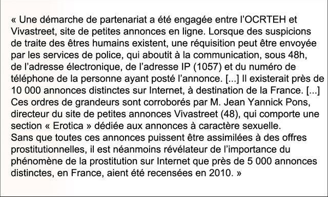 Extrait du rapport parlementaire de Guy Geoffroy en 2011