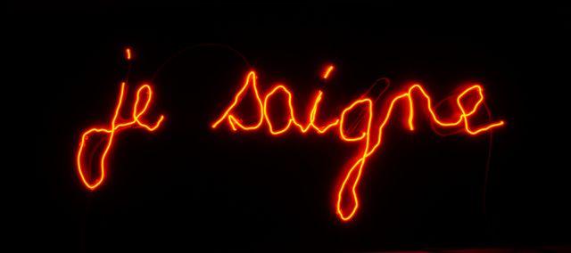 """""""Je saigne"""" de Claude Lévêque, 2014 écriture Elie Morin - Galerie Kamel Mennour -exposée au Palais des Beaux Arts de Lille"""