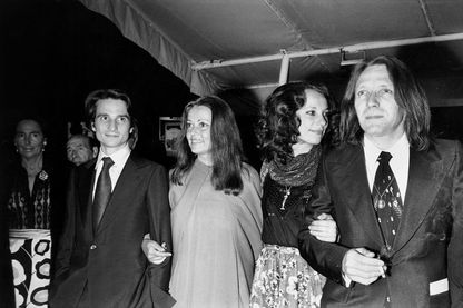 Jean-Pierre Léaud, Jeanne Moreau, Bernadette Lafont et le réalisateur Jean Eustache au Festival de Cannes, le 18 mai 1973.