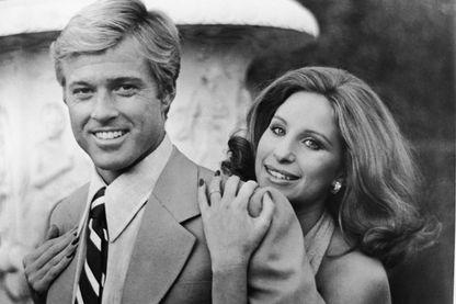 """Barbra Streisand et Robert Redford, acteurs principaux du film """" Nos plus belles années"""" de Sydney Pollack, 1973."""