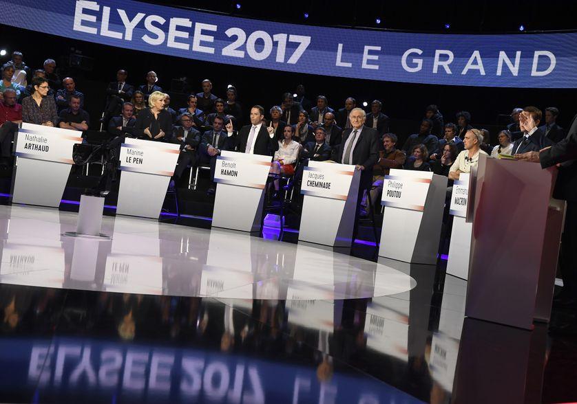 Le plateau du débat présidentiel sur BFMTV et CNews (4 avril 2017)
