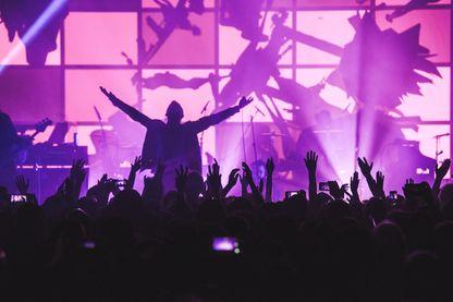 """Gorillaz sur scène pour leur nouvel album """"Humanz"""" le 24 mars 2017 à Londres."""