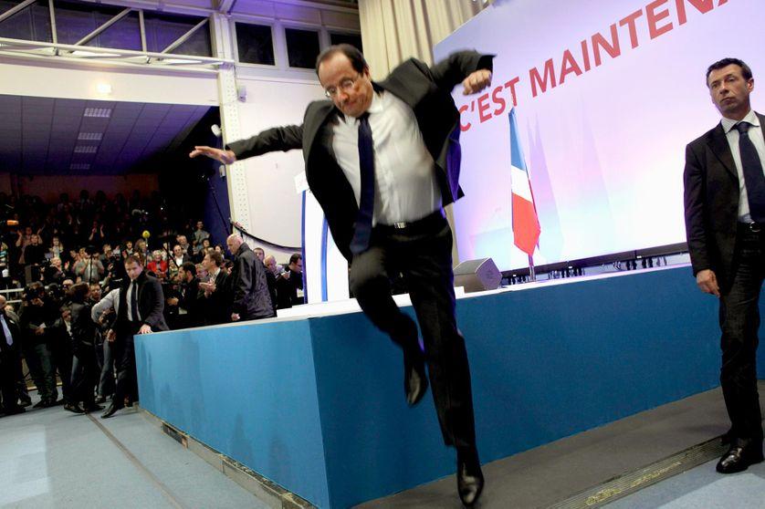 Premier tour de l'élection présidentielle, déclaration de François Hollande après l'annonce des résultats le 22 avril 2012, à Tulle.