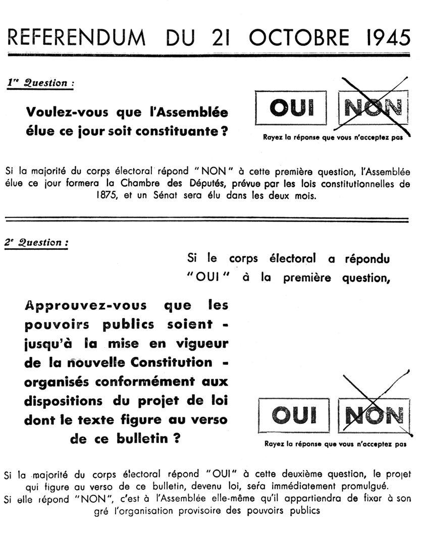 """Tract du référendum du 21 octobre 1945 proposé aux électeurs en France. Une majorité de """"oui"""" permet une assemblée constituante."""
