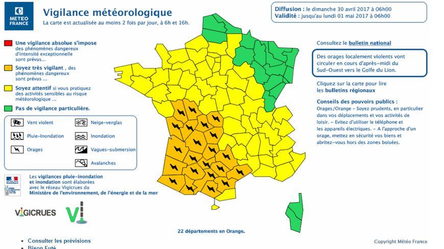 La Dordogne est en plein milieu des départements en alerte orange ce dimanche.