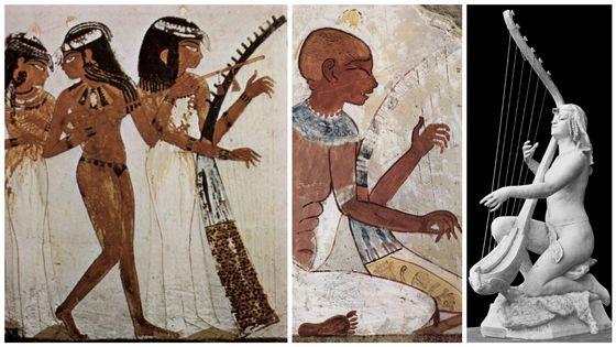 "Maler der Grabkammer des Nacht (environ 1422-1411 av. J-C) / Sculpture ""Artiste egyptienne"" (1891)"