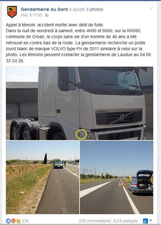 Les gendarmes ont lancé un appel à témoins relayé par France Bleu Gard Lozère