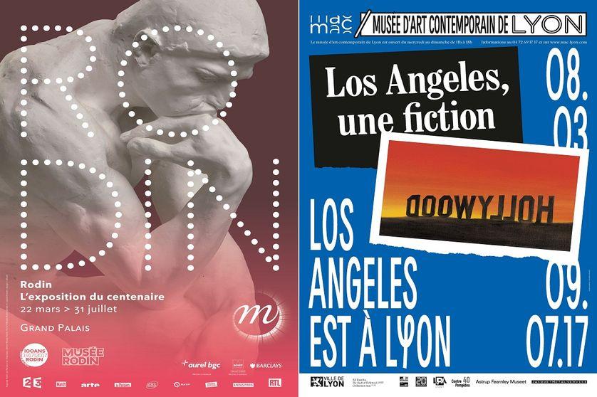 """Affiches expositions """"Rodin, l'exposition du centenaire"""" et """"Los Angeles, Une fiction"""""""