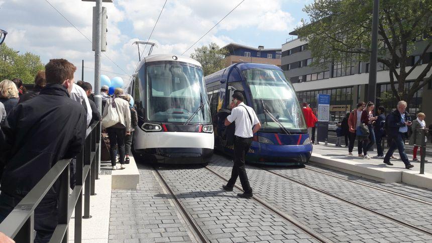 Les premiers tramways Strasbourg-Kehl côté allemand, le 29 avril 2017