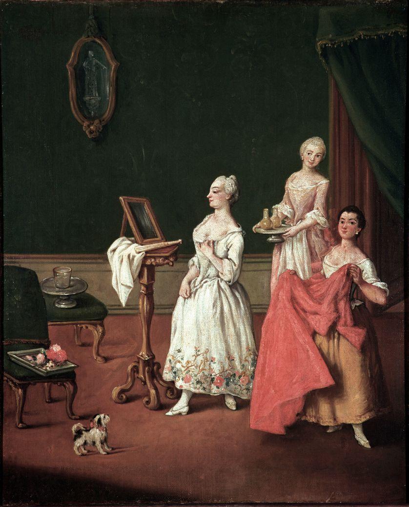 La toilette (The dressing session) Aristocrate venitienne s'appretant devant son miroir aidee de deux domestiques - Peinture de Pietro Longhi (1701-1785)