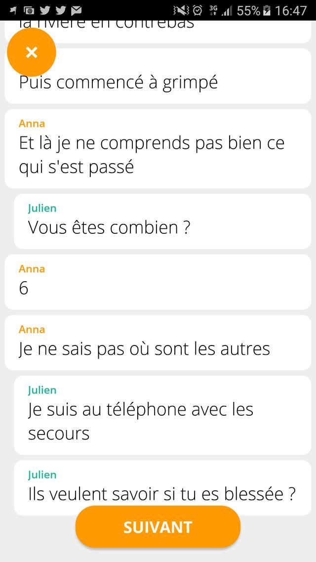 Extrait d'une histoire sur Chat Stories
