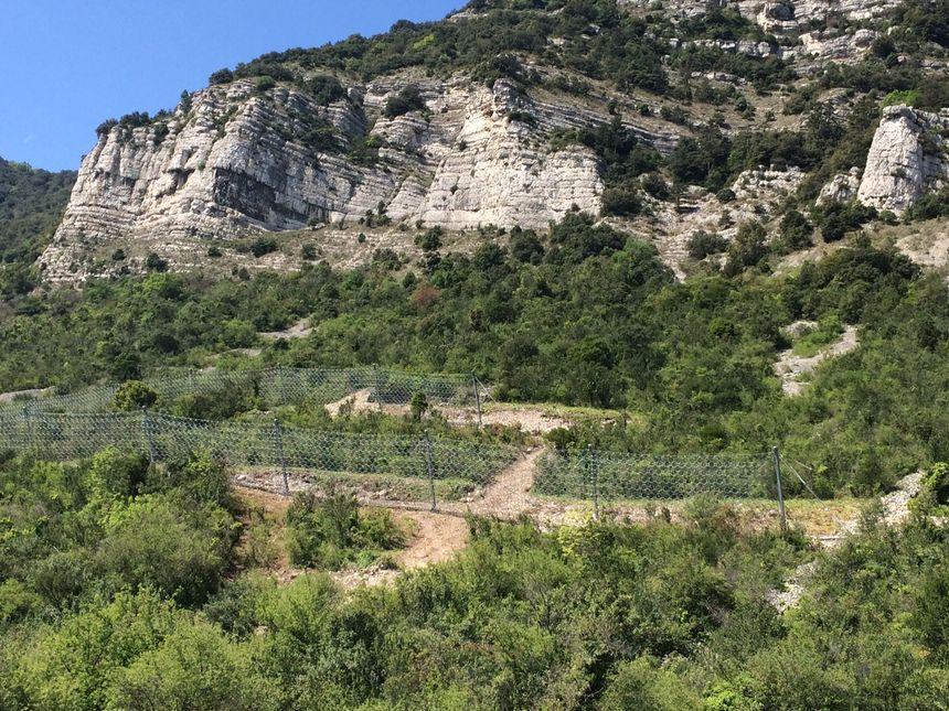 Deux filets pare-blocs ont été installée au pied de la falaise de Crussol pour sécuriser les habitations qui se trouvent en dessous.
