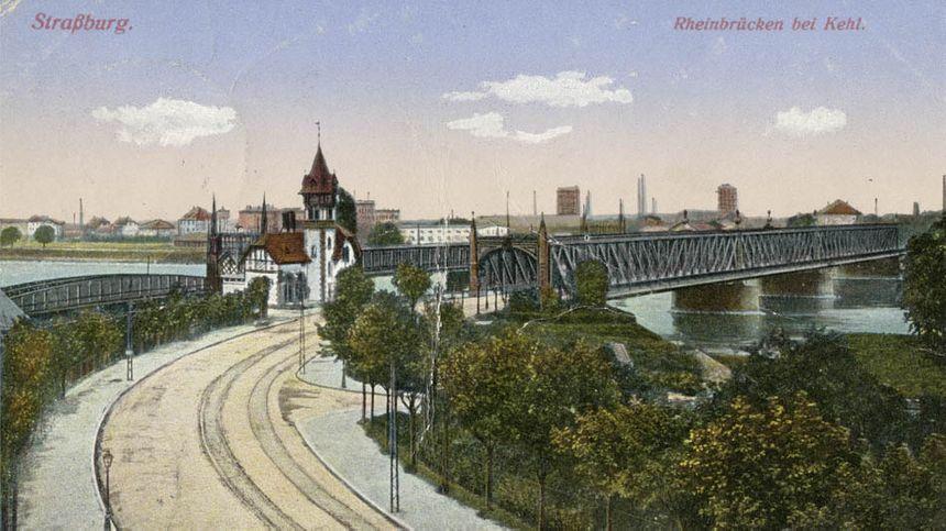 Les ponts du Rhin avec le bâtiment de l'Octroi vers 1900