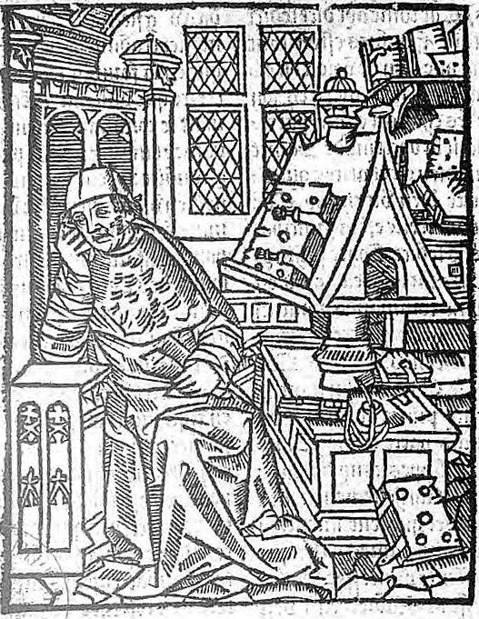 Gravure représentant Chrétien de Troyes à sa table de travail (1530)