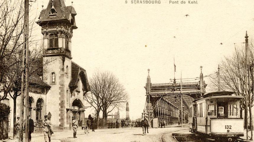Le pont de Kehl et le tram strasbourgeois vers 1920