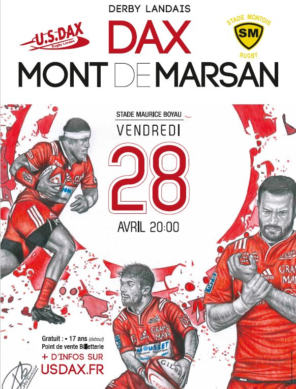 l'affiche du derby landais de rugby