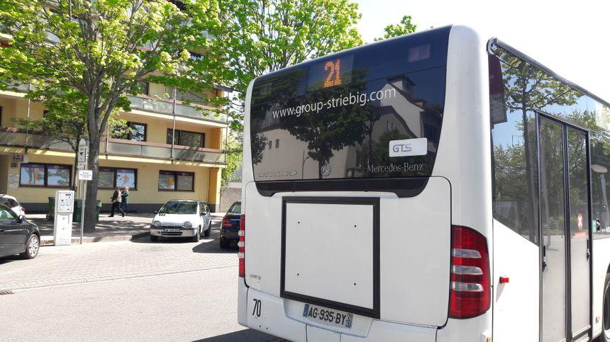 La ligne de bus 21, ici le 24 avril 2017 devant la mairie de Kehl
