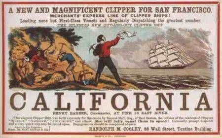« Un nouveau superbe clipper partant pour San Francisco », publicité pour le voyage vers la Californie publiée à New York dans les années 1850.