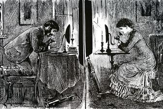 Dessin de George du Maurier montrant la façon dont le téléphone d'Alexandre Graham Bell pourrait être utilisé par les gens souhaitant se courtiser. Décembre 1880.