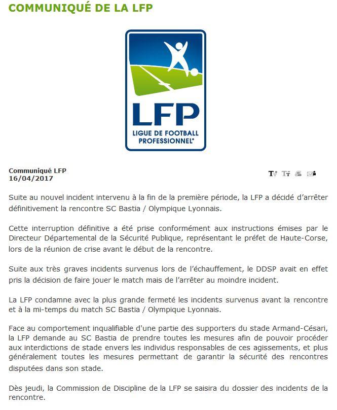Communiqué LFP